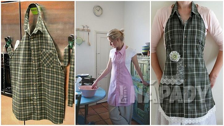 Stará pánská košile: kuchyňská zástěra