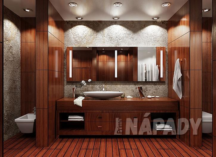 Koupelna vyvedená v masivním dřevě