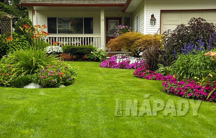 Pěstěný trávník u domu