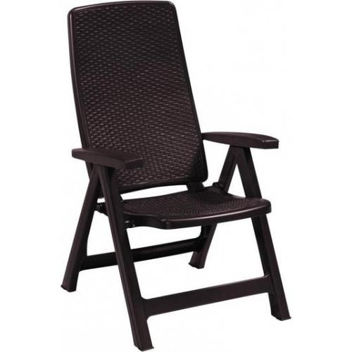 ALLIBERT MONTREAL zahradní židle polohovací, 63 x 67 x 111 cm, hnědá