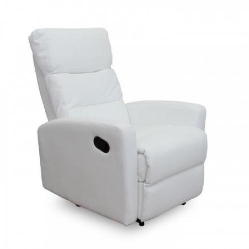 Relaxační křeslo, ekokůže, bílá, SILAS, Tempo Kondela