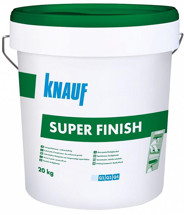 Pastózní tmel Knauf SUPER FINISH vytváří extrémně pevné spojení s povrchem sádrokartonu bez vzniku trhlin a bez tvorby vzduchových bublin. Velmi snadno se nanáší a vyhlazuje do hladka. Ideální pro vytvoření kvality Q2-Q4.