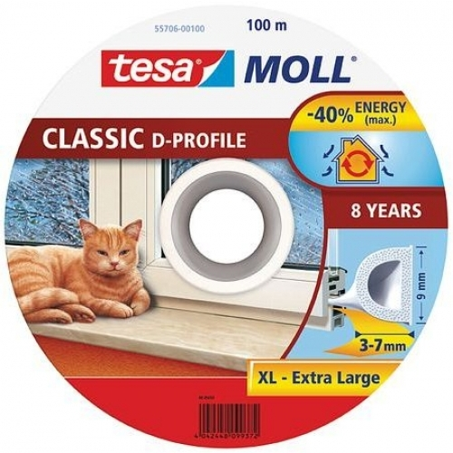 TESA MOLL Gumové těsnění, bílé, na okna a dveře, D profil, buben 100m 55706-00100-00