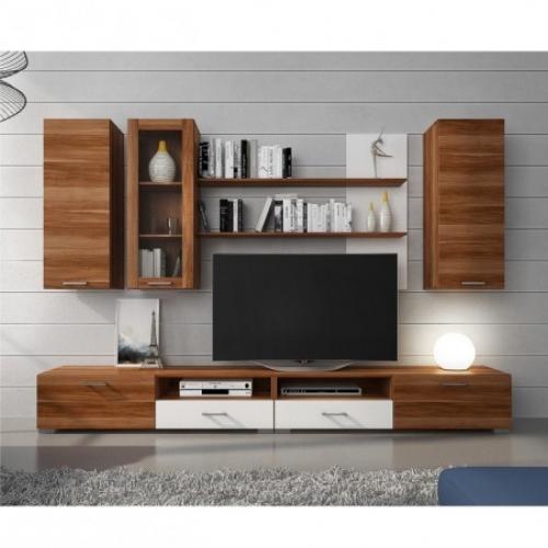 Obývací stěna, švestka havana/bílá, CONDOR, Tempo Kondela