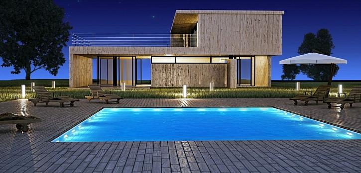 Nerezový bazén je běžnou součástí moderních rodinných domů
