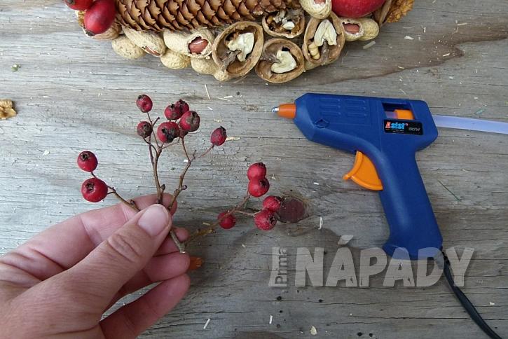 Věnec s ořechy jako krmítko pro ptáky: větvičky hlohu