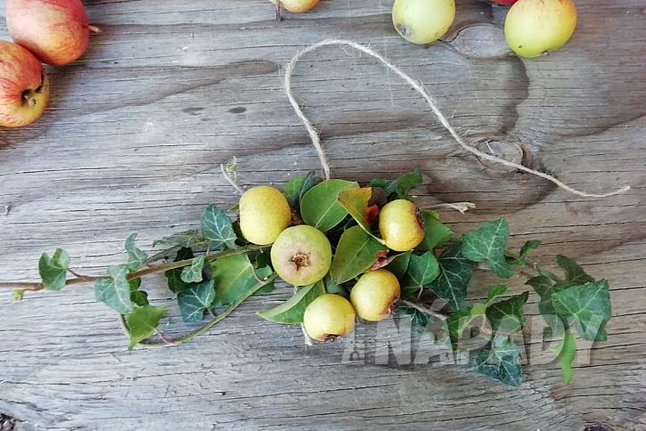 Podzimní věnec z malých jablíček: vytvořte ozdobu