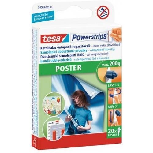 TESA Powerstrips Poster, oboustranné proužky na plakáty, bílé, nosnost 200g