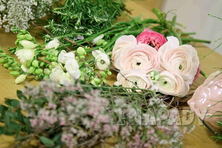 Květiny v pastelových barvách