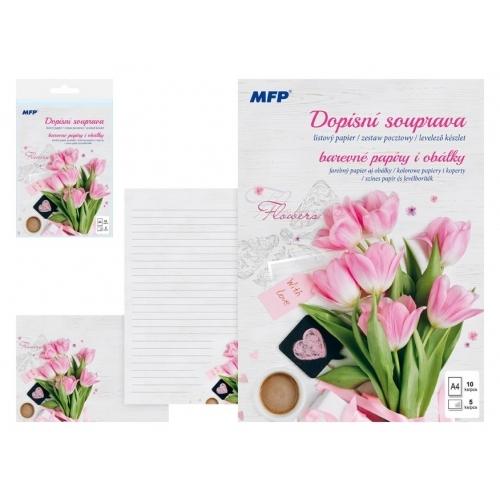 MFP dopisní papír barevný LUX 5+10 (Květy)