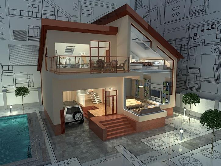 Architektonické rozvržení rodinného domu s pultovou střechou