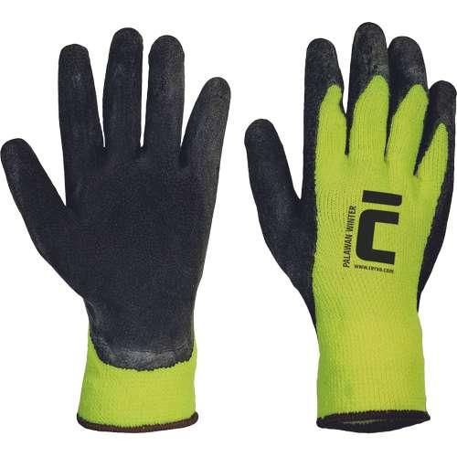 Zateplené bezešvé pletené rukavice Palawan Winter ze syntetické příze jsou na vnějšku opatřené vrstvou mikroporézního paropropustného latexu