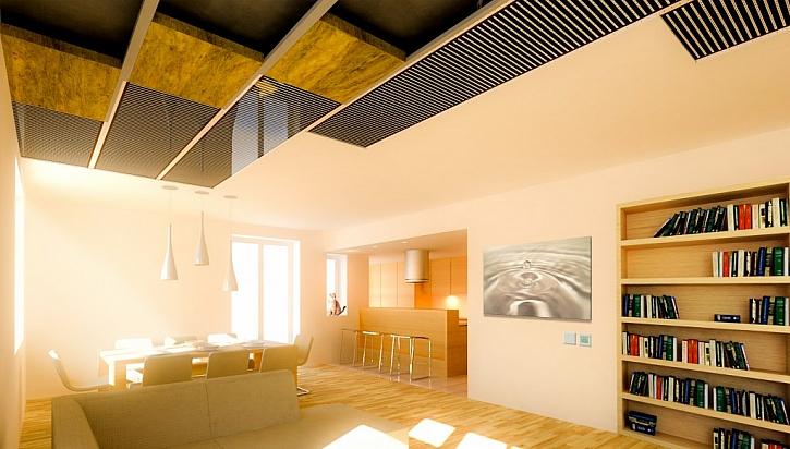 Stropní vytápění s folii ECOFILM v obývacím pokoji