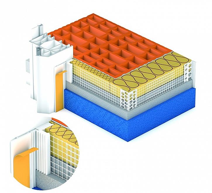 Schéma použití lišty s tkaninou FAP Compact - šířka profilu 15,5 mm, výška pěnové dilatační pásky 3 mm, volný přesah tkaniny 135 mm
