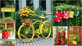 Barevná zahrada: Jak využít běžné předměty k rozveselení zahrady. Recyklace je hra!
