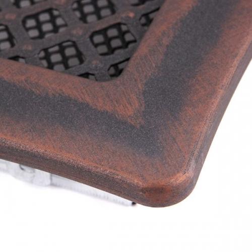 Krbová mřížka 16x16cm s žaluzií DECO měděná patina