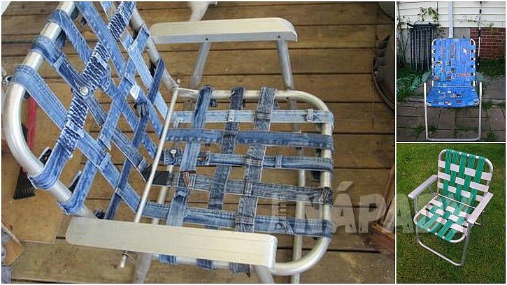 Campingová skládací židle: látkové pruhy