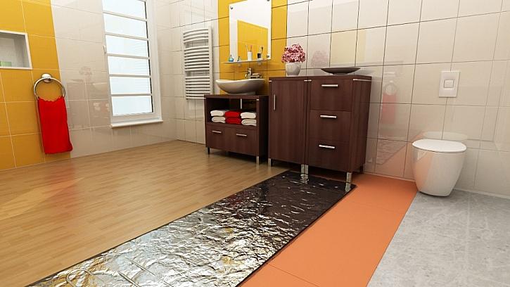 Rohož AL-MAT najde použití v koupelnách a vlhkých prostorách s plovoucí laminátovou nebo dřevěnou podlahou, vytápěnou nízkoteplotním velkoplošným elektrických podlahovým topením.