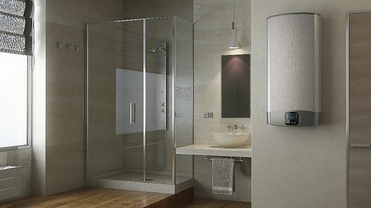 VELIS EVO PLUS a jeho vertikální umístění. Díky elegantnímu plochému tvaru a hloubce pouze 27 cm šetří místo a doplní zařízení moderní koupelny.
