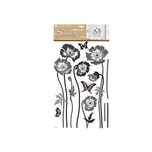 Anděl samolepicí dekorace 10230 černošedé květiny 60x32 cm