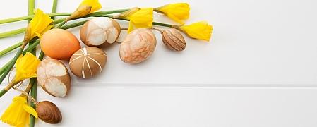 Batikování velikonočních vajíček přírodními barvivy s květinovými motivy
