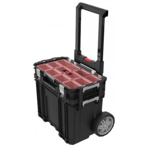 KETER CONNECT cart + organizér na kolečkách black/red