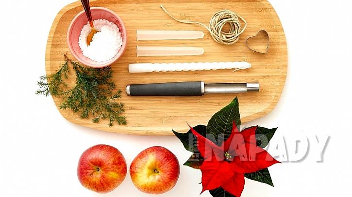 Co na vánoční svícen a vázu z jablek potřebujete