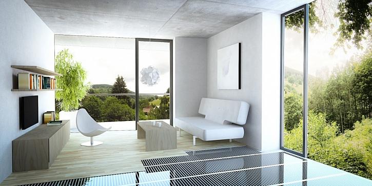 Podlahová folie ECOFILM v obývacím pokoji