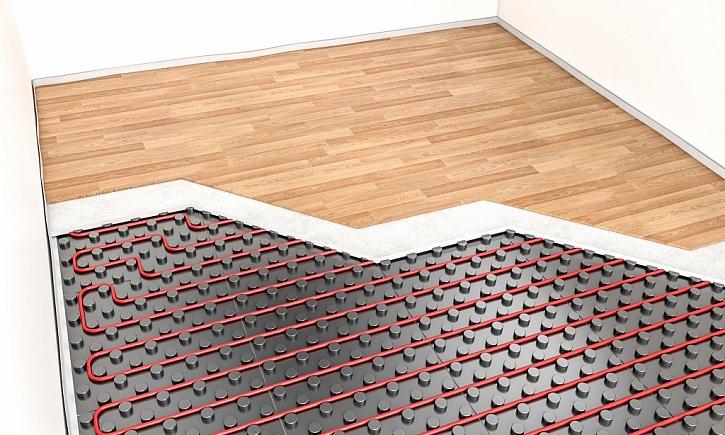 Nákres podlahového topení včetně podlahové krytiny ukazuje jednoduchost pokládky