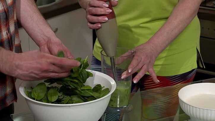Mixování špenátu