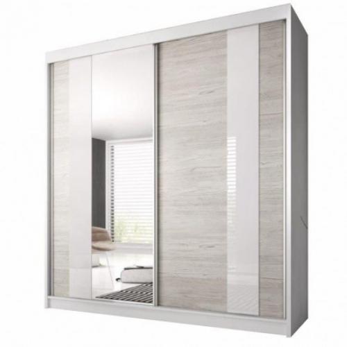 Skříň s posuvnými dveřmi, dub kathult světlý / bílá, 203x218, MULTI 32, Tempo Kondela