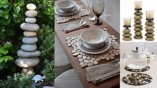 Dekorace z kamínků a oblázků v přírodním stylu