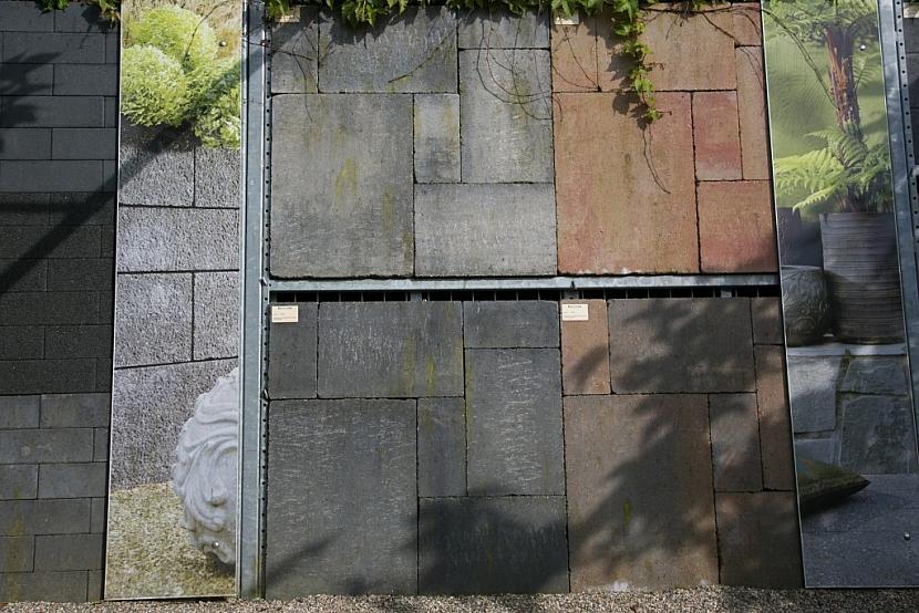 Vzorník betonové dlažby a ukázky jednotlivých typů probarvení