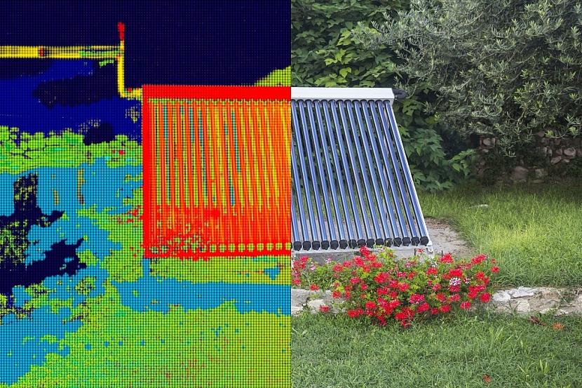 Infračervený a skutečný obraz solárního systému pro ohřev vody