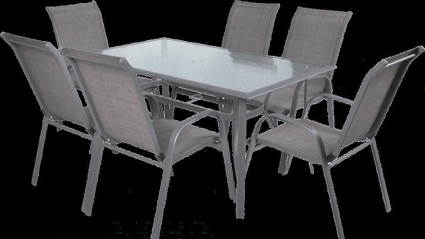 Zahradní nábytek: SOFIA SET z šesti stohovatelných židlí a stolu
