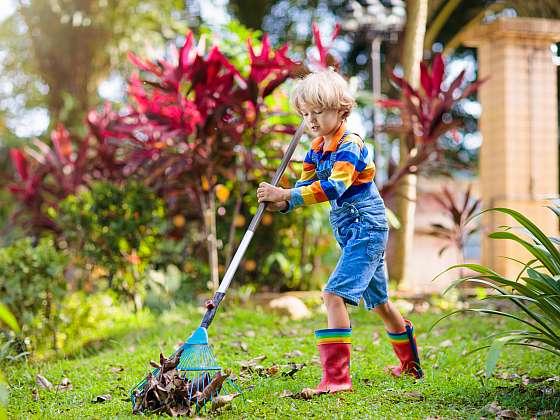 Když se do podzimního úklidu zahrady pustíte s chutí, půjde vám práce pěkně od ruky a rádi vám pomohou i malí zahradníci (Zdroj: Depositphotos (https://cz.depositphotos.com))