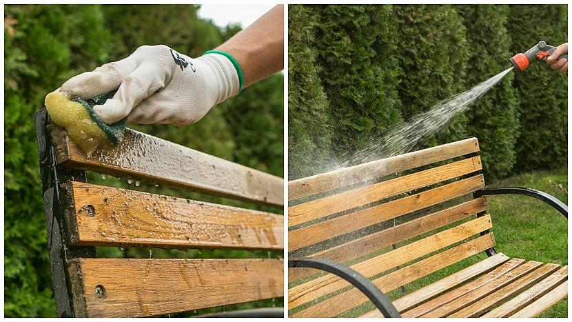 Jak dát staré dřevěné lavičce nový look: zbavte ji všech nečistot