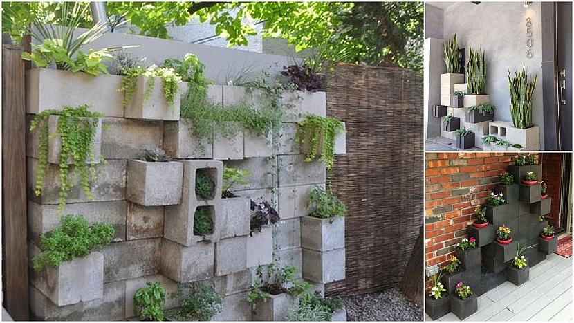 Betonové tvárnice: květinové stěny