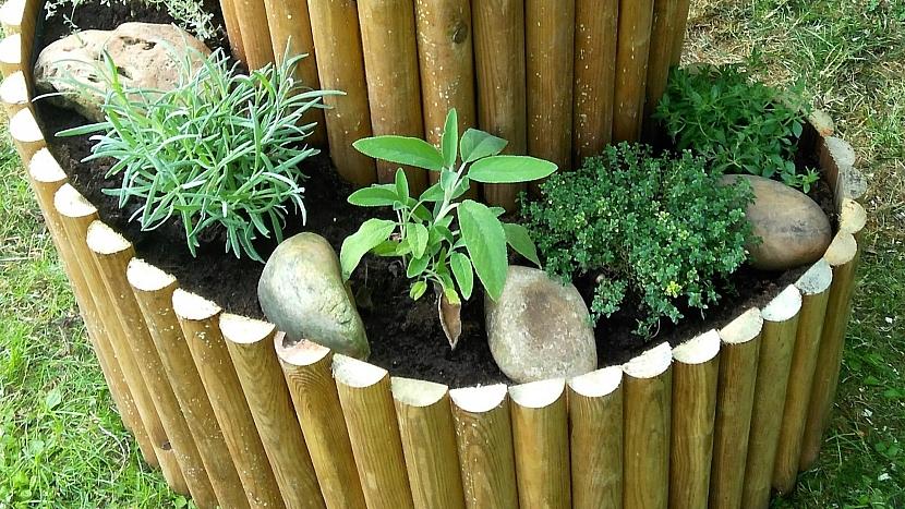 Bylinkový šnek: mezi bylinky vložíme pěkné kameny