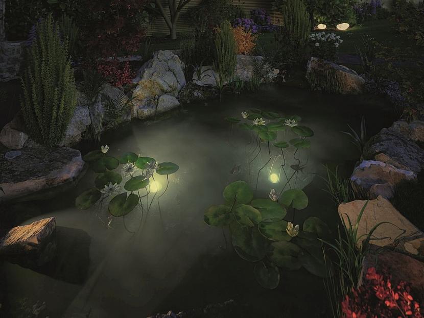 osvětlení zahradního jezírka
