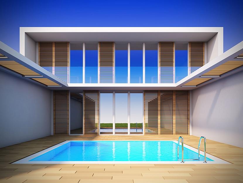 Částečně krytý bazén schovaný za zdí