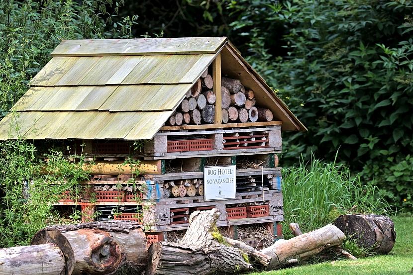 Hmyzí domky a hotely umístěte do klidnější části zahrady