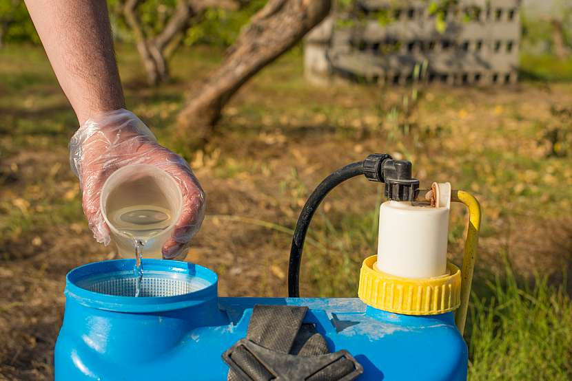 Lití roztoku do nádoby rozprašovače