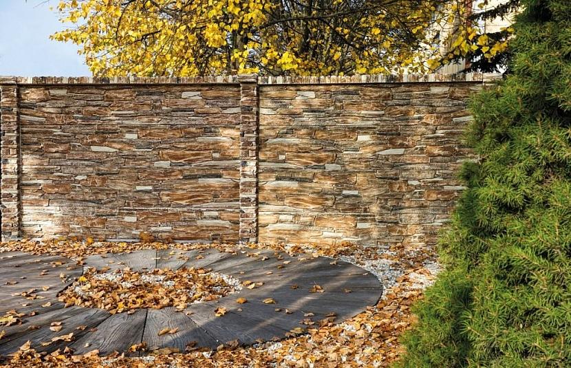 Reliéfní plotové desky v imitaci opuka, barevná varianta colormix