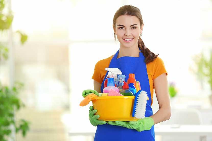 Žena s lavorem plným různých čisticích prostředků