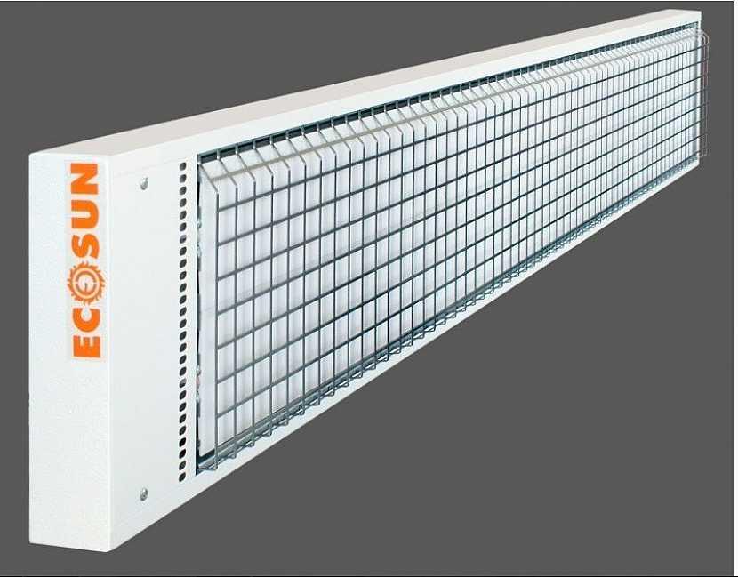 Sálavé panely ECOSUN S+ s ochrannou mříží.