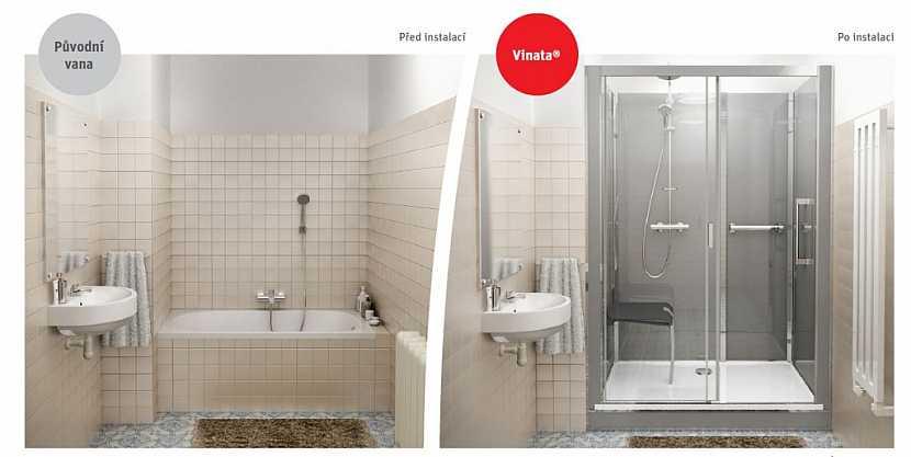 Koupelna před a po instalaci boxu VINATA. Vidíte ten rozdíl?