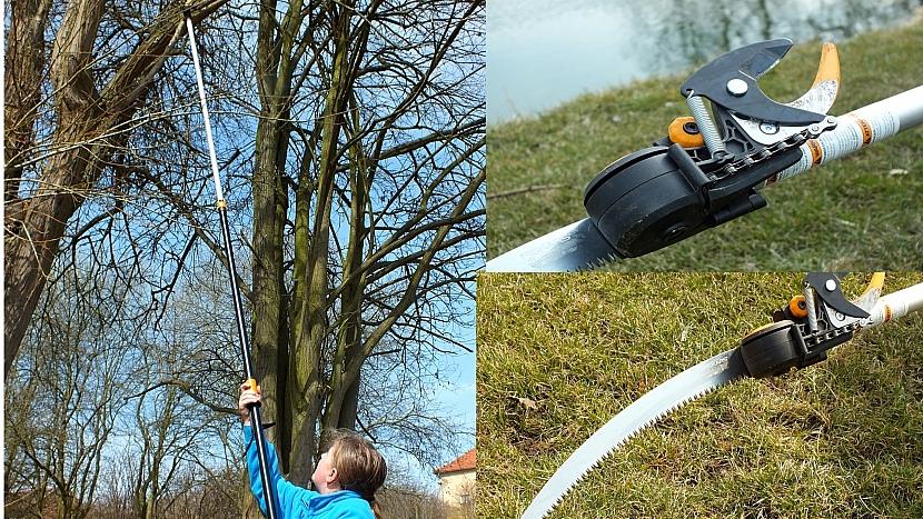 Stříhání větví ve výšce bez žebříku