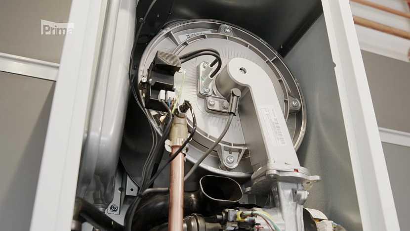 vnitřek plynového kotle