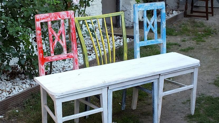Lavice ze starých židlí: srovnáme výšku židlí
